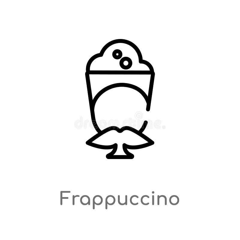 icône de vecteur de frappuccino d'ensemble ligne simple noire d'isolement illustration d'?l?ment de concept de boissons Course Ed illustration de vecteur