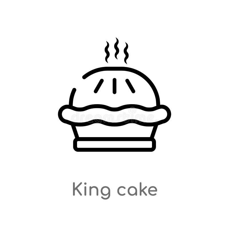 ic?ne de vecteur de g?teau de roi d'ensemble ligne simple noire d'isolement illustration d'?l?ment de concept de nourriture g?tea illustration de vecteur