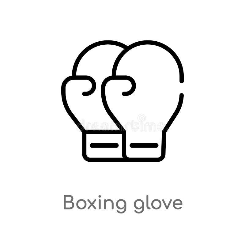 icône de vecteur de gant de boxe d'ensemble ligne simple noire d'isolement illustration d'?l?ment de concept de sports Course Edi illustration de vecteur