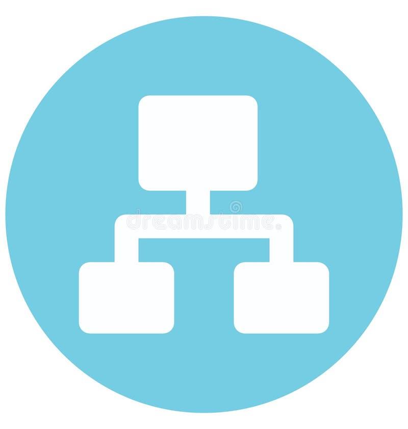 Icône de vecteur de Glyph de couleurs de la hiérarchie deux d'isolement et Editable illustration de vecteur