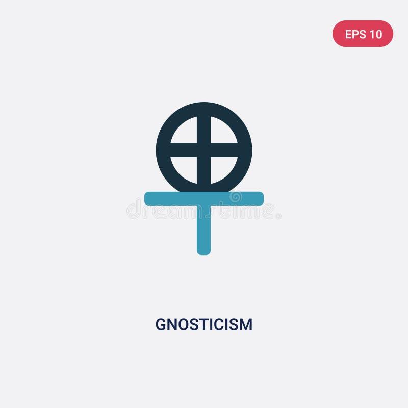 Icône de vecteur de gnosticism de deux couleurs de concept de religion le symbole bleu d'isolement de signe de vecteur de gnostic illustration stock