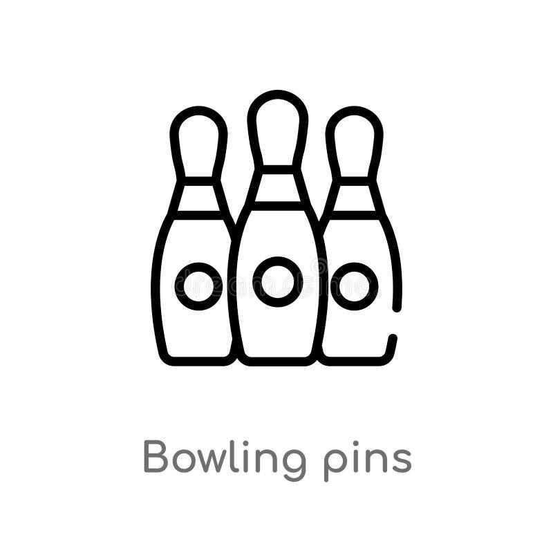 icône de vecteur de goupilles de bowling d'ensemble ligne simple noire d'isolement illustration d'élément de divertissement et de illustration de vecteur