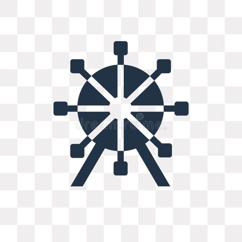 Icône de vecteur de grande roue d'isolement sur le fond transparent, maintenance illustration stock