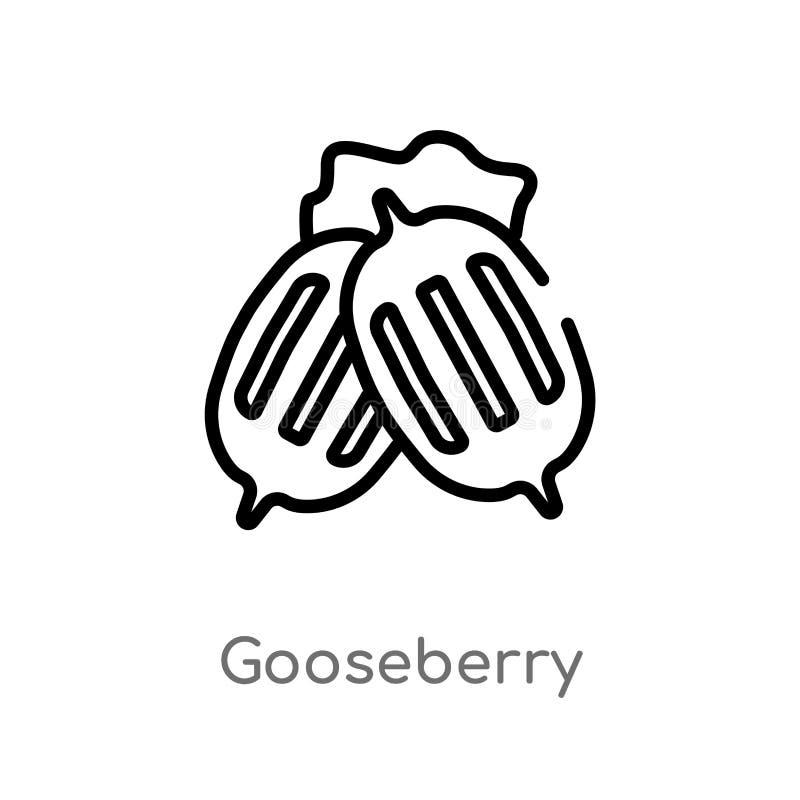 icône de vecteur de groseille à maquereau d'ensemble ligne simple noire d'isolement illustration d'élément de concept de gastrono illustration stock