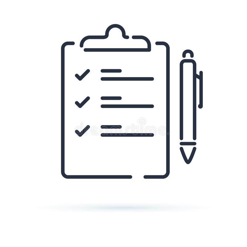 Icône de vecteur de jeu-concours d'isolement sur le fond blanc Contrat avec une illustration de stylo Ordre du jour ou accord d'a illustration stock