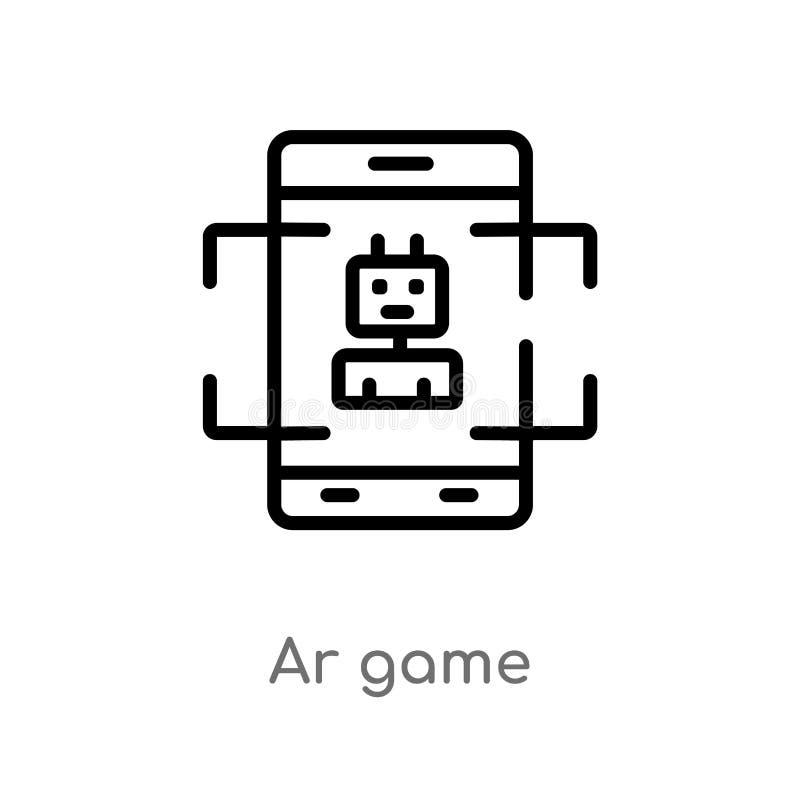 icône de vecteur de jeu de l'AR d'ensemble ligne simple noire d'isolement illustration d'?l?ment du concept general-1 course edit illustration stock
