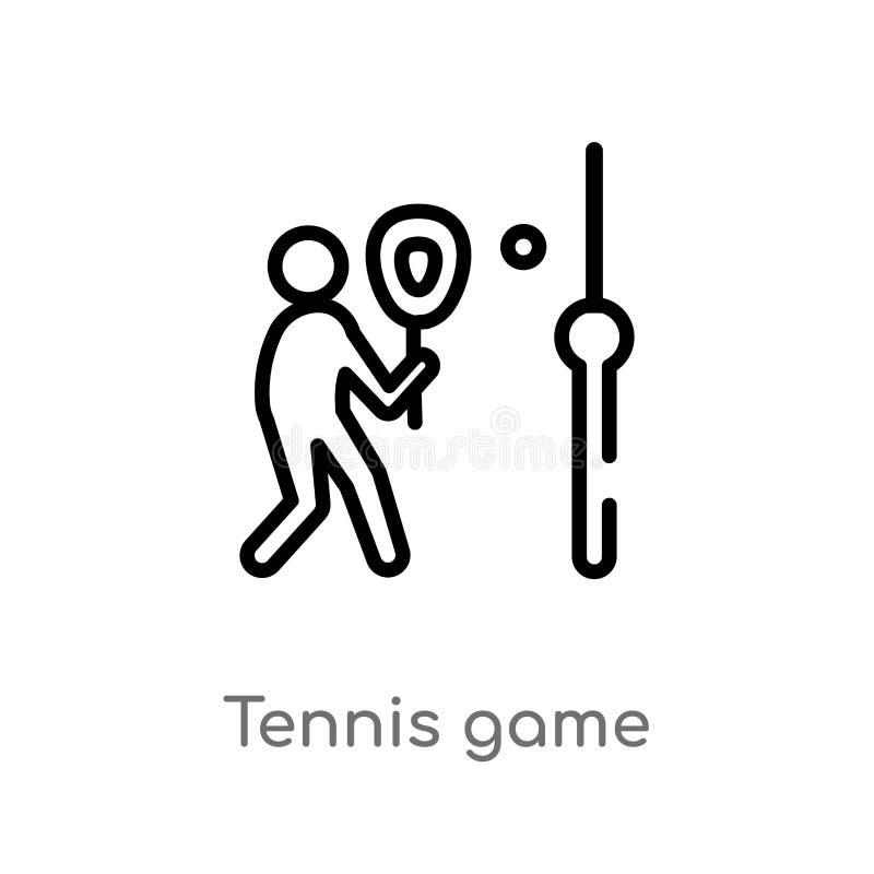 icône de vecteur de jeu de tennis d'ensemble ligne simple noire d'isolement illustration d'élément de concept de sports Course Ed illustration de vecteur