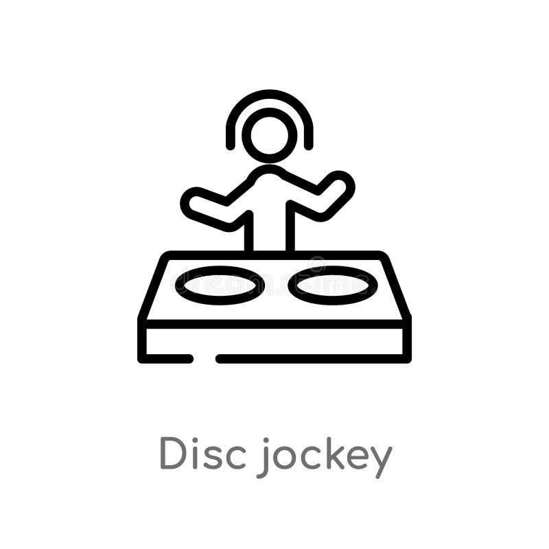 icône de vecteur de jockey de disque d'ensemble ligne simple noire d'isolement illustration d'élément de concept d'activités Cour illustration libre de droits