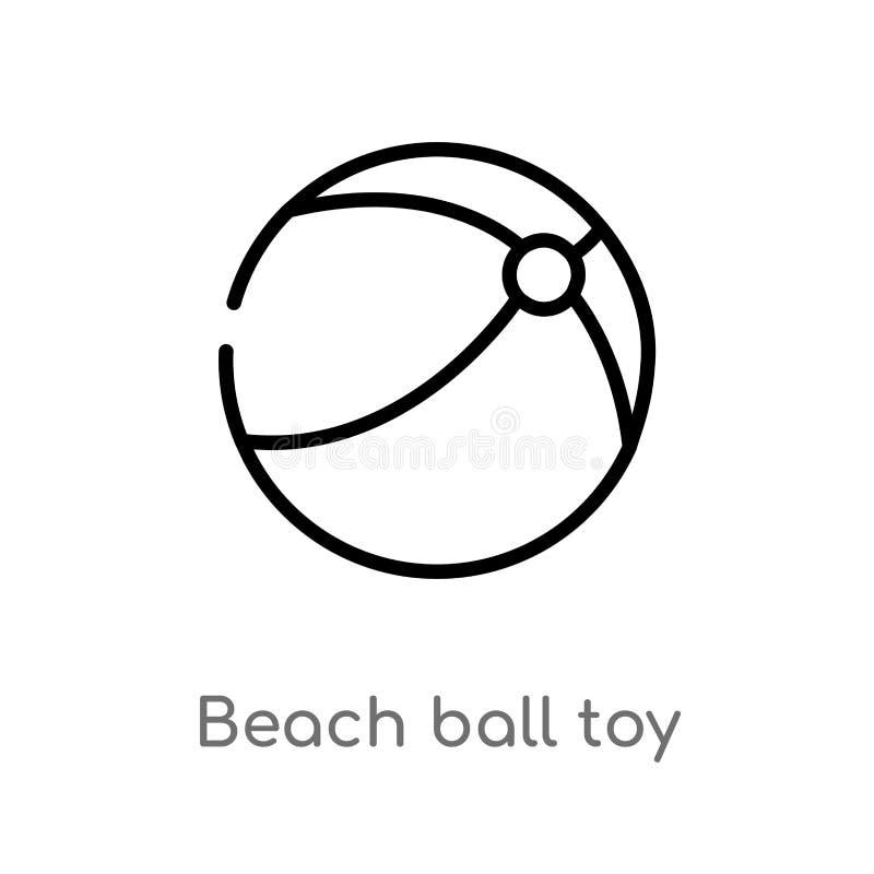 icône de vecteur de jouet de ballon de plage d'ensemble ligne simple noire d'isolement illustration d'élément de concept de jouet illustration stock