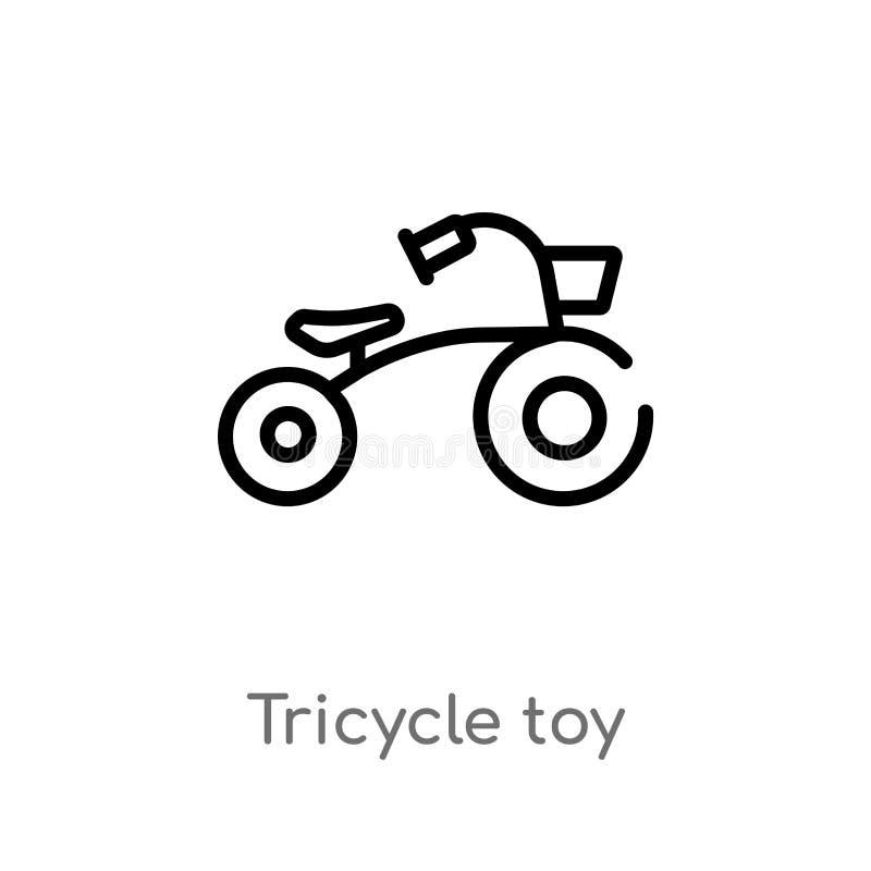 ic?ne de vecteur de jouet de tricycle d'ensemble ligne simple noire d'isolement illustration d'?l?ment de concept de jouets Cours illustration de vecteur