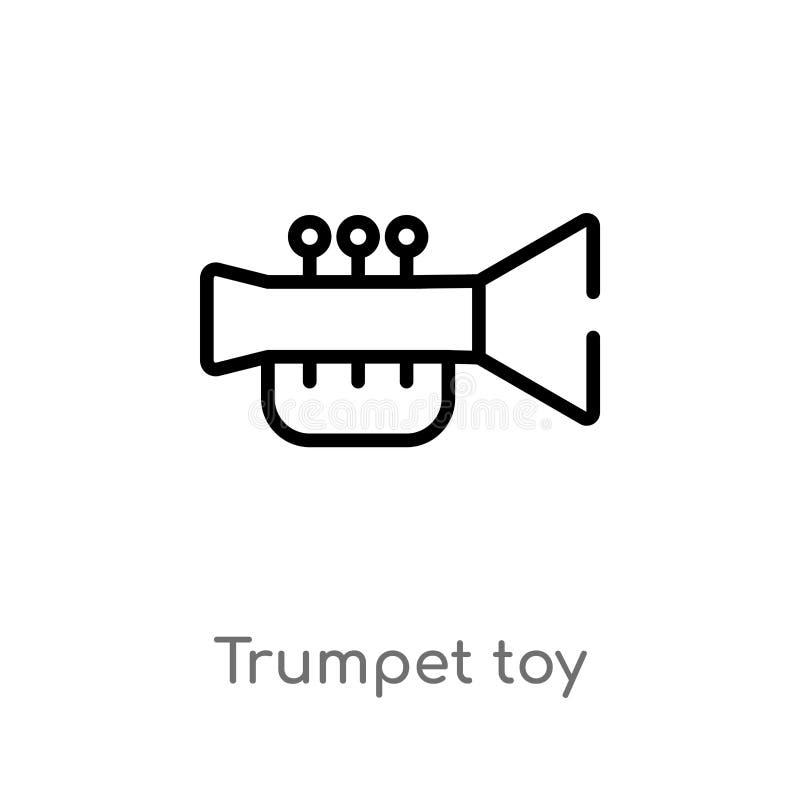 icône de vecteur de jouet de trompette d'ensemble ligne simple noire d'isolement illustration d'?l?ment de concept de jouets trom illustration de vecteur