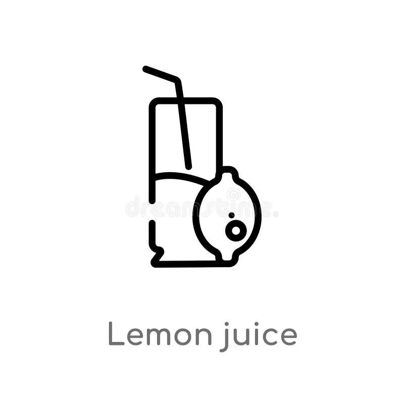 icône de vecteur de jus de citron d'ensemble ligne simple noire d'isolement illustration d'élément de concept de boissons citron  illustration libre de droits