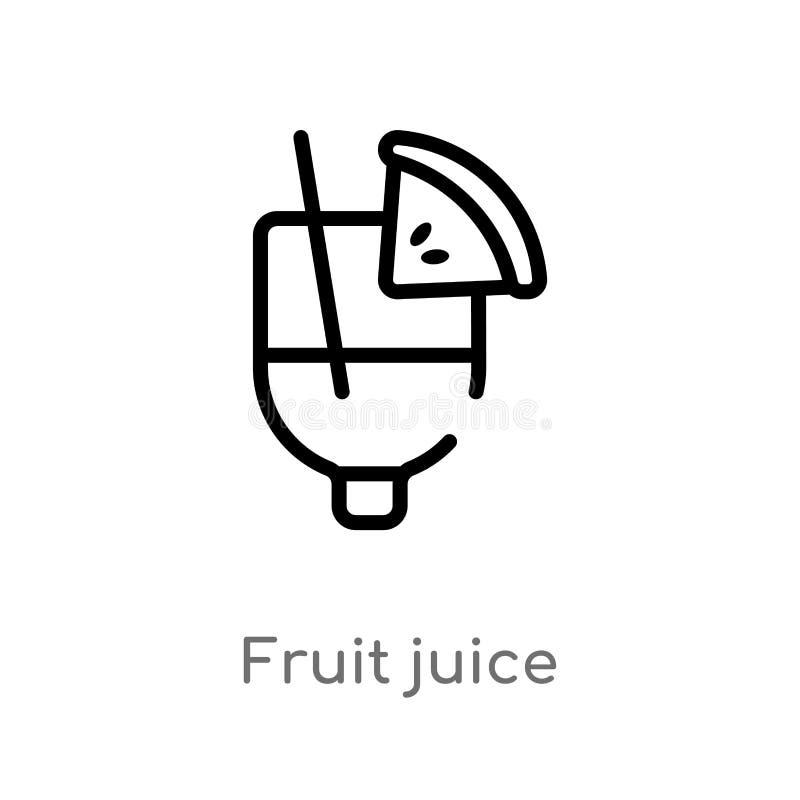 icône de vecteur de jus de fruit d'ensemble ligne simple noire d'isolement illustration d'élément de concept de boissons fruit ed illustration libre de droits