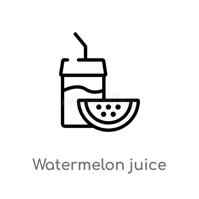 icône de vecteur de jus de pastèque d'ensemble ligne simple noire d'isolement illustration d'élément de concept de boissons Cours illustration stock