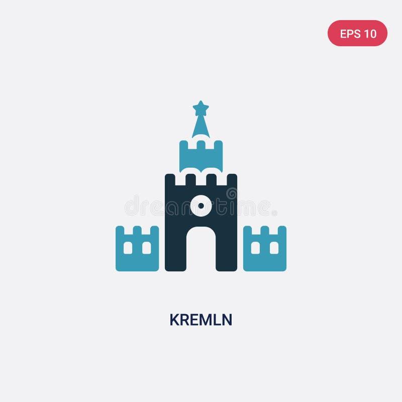 Icône de vecteur de kremln de deux couleurs de l'autre concept le symbole bleu d'isolement de signe de vecteur de kremln peut êtr illustration stock