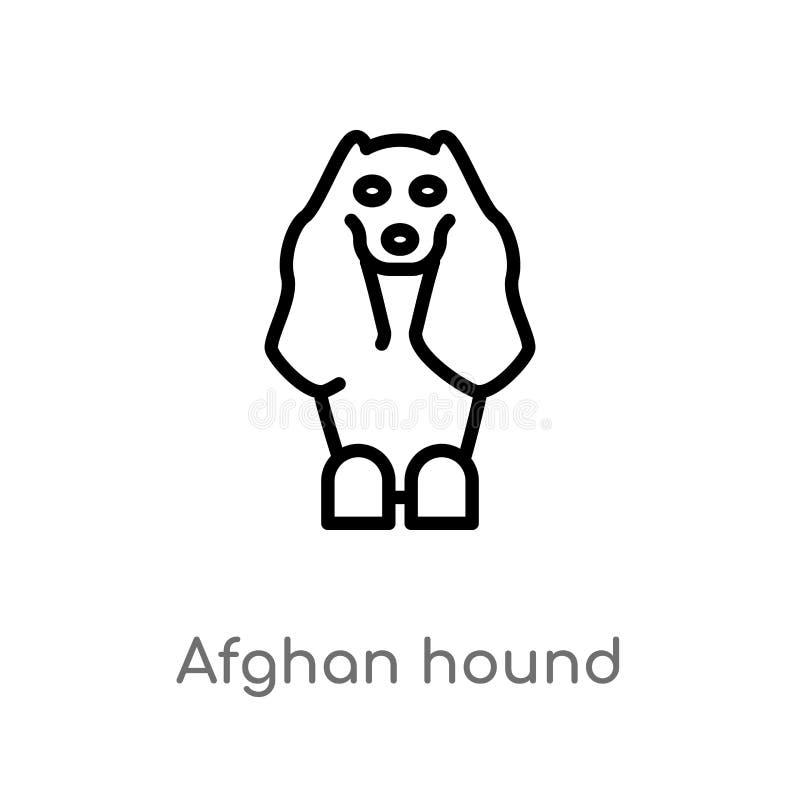 icône de vecteur de lévrier afghan d'ensemble ligne simple noire d'isolement illustration d'élément de concept d'animaux Course E illustration libre de droits