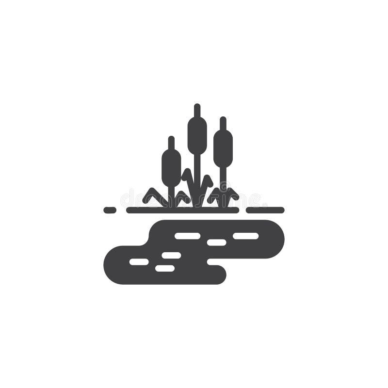 Icône de vecteur de l'eau de lac et d'herbe tubulaire illustration stock