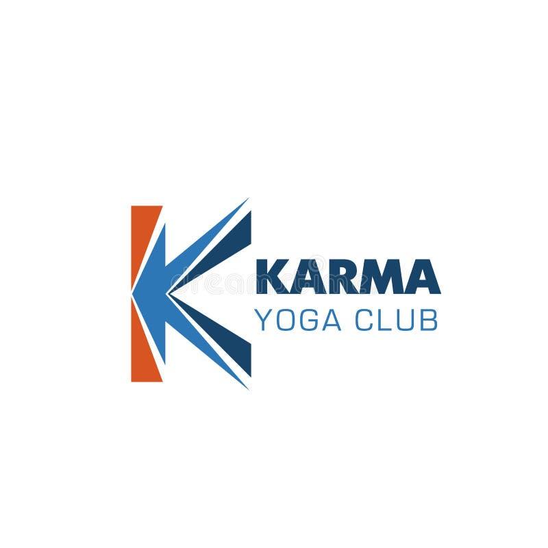Icône de vecteur de la lettre K de club de yoga de karma illustration de vecteur