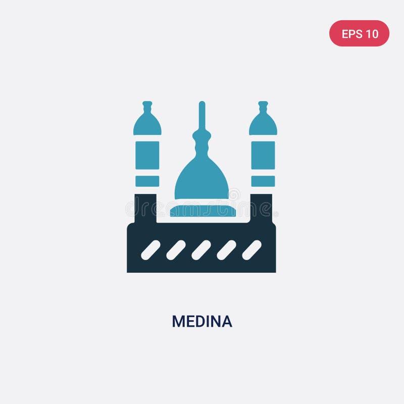 Icône de vecteur de la Médina de deux couleurs de concept de religion le symbole bleu d'isolement de signe de vecteur de la Médin illustration libre de droits