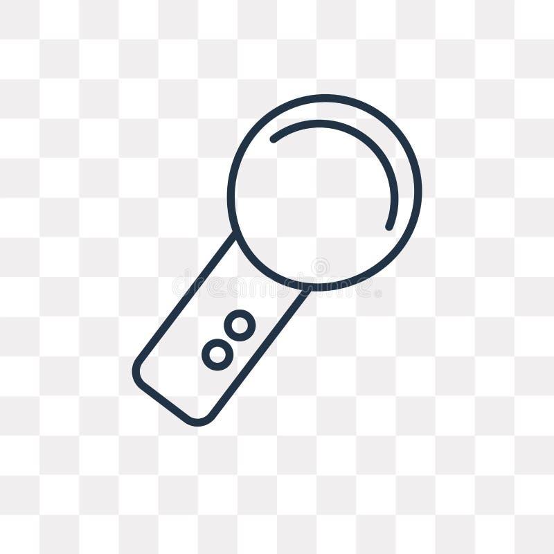 Icône de vecteur de la main MIC d'isolement sur le fond transparent, linéaire illustration de vecteur