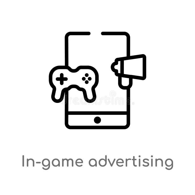 icône de vecteur de la publicité de dans-jeu d'ensemble ligne simple noire d'isolement illustration d'élément du concept general- illustration de vecteur