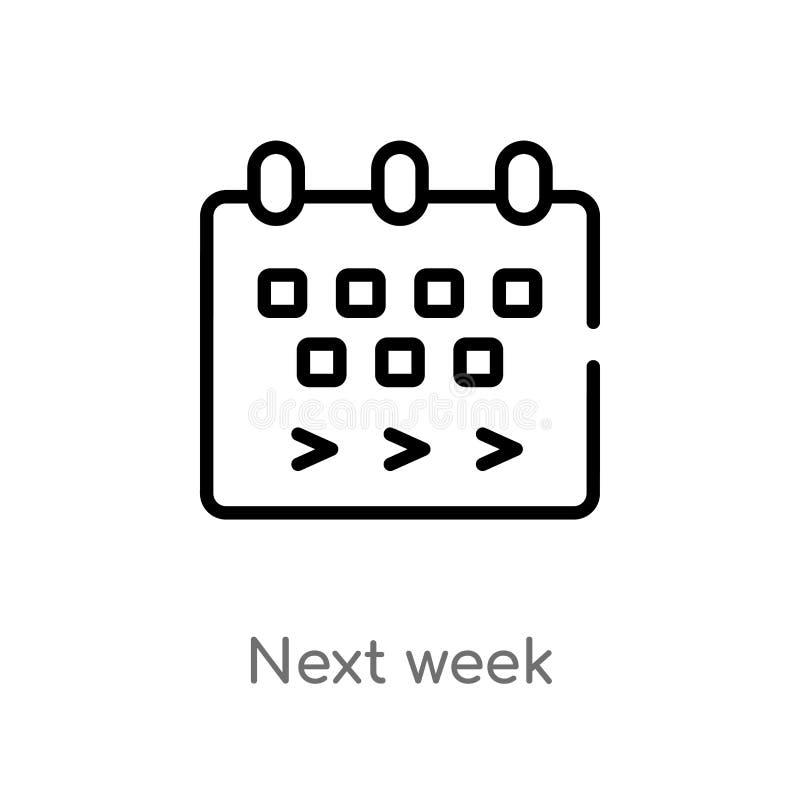 ic?ne de vecteur de la semaine prochaine d'ensemble ligne simple noire d'isolement illustration d'?l?ment de concept satisfait co illustration de vecteur