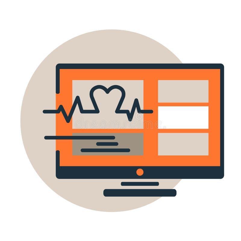 Icône de vecteur de la surveillance médicale de logiciel Battement de coeur sur le moniteur Ligne plate à la mode style de concep illustration stock