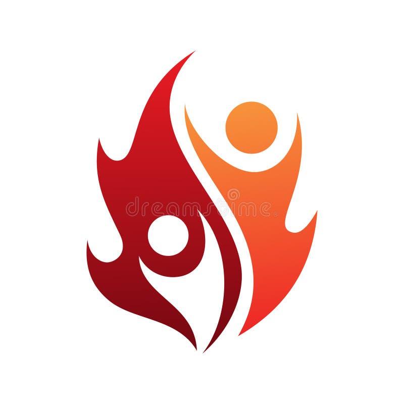 Icône de vecteur de la vie de flamme avec deux personnes dans le style abstrait sur le fond blanc illustration libre de droits