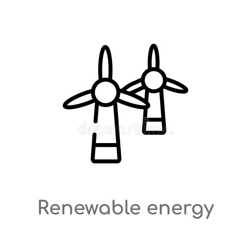 icône de vecteur de label d'énergie renouvelable d'ensemble ligne simple noire d'isolement illustration d'élément de notion génér illustration libre de droits
