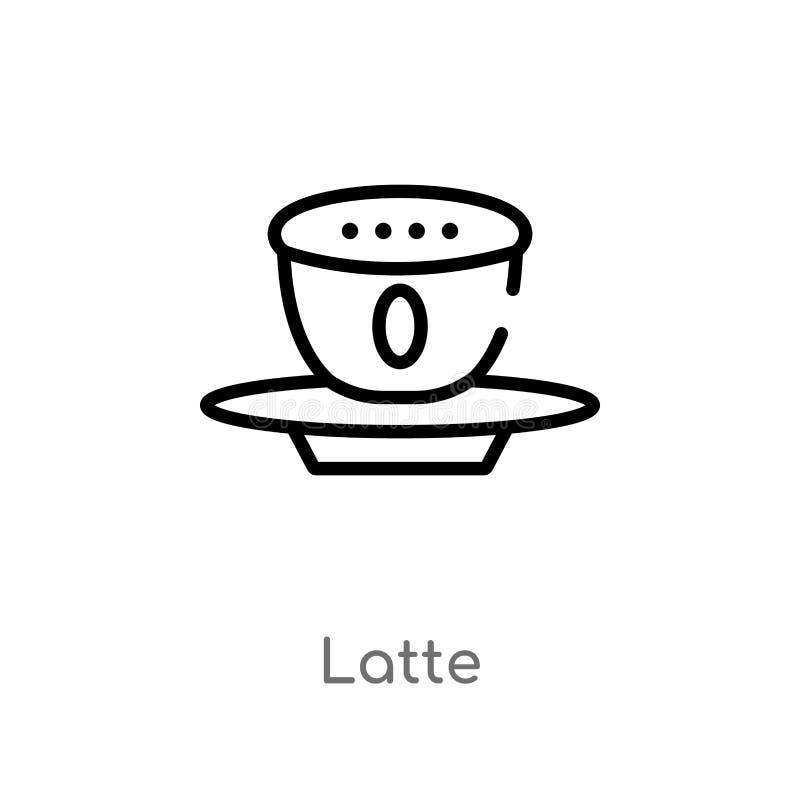icône de vecteur de latte d'ensemble ligne simple noire d'isolement illustration d'élément de concept de boissons icône editable  illustration de vecteur