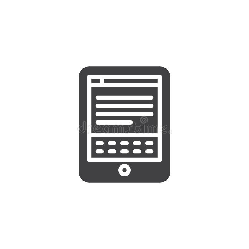 Icône de vecteur de lecteur d'EBook illustration stock