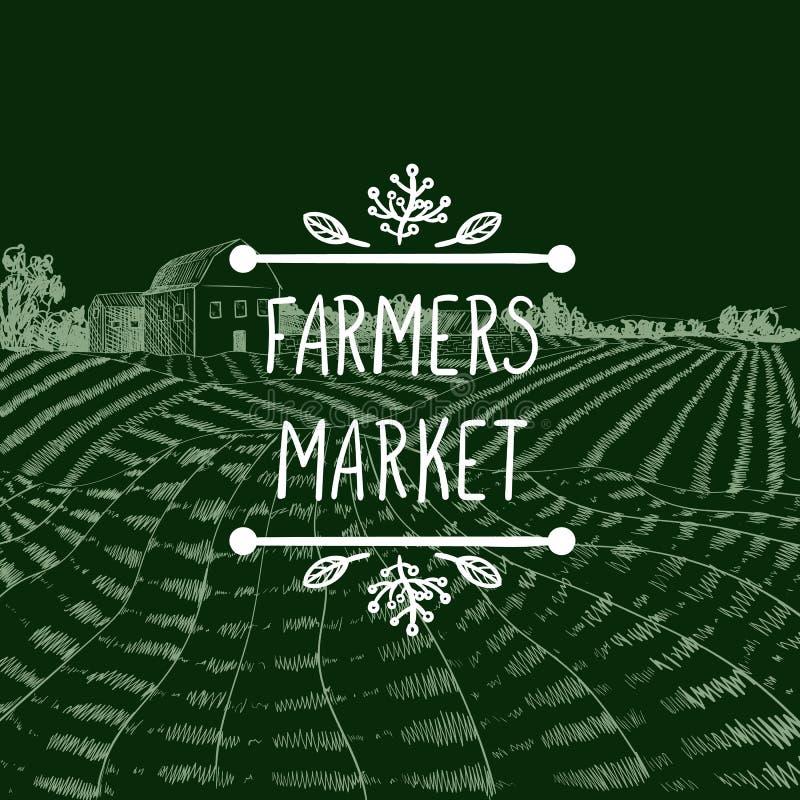 Icône de vecteur : Les agriculteurs lancent sur le marché, dessin de craie de champ de ferme et lettrage dans le cadre de griffon illustration libre de droits