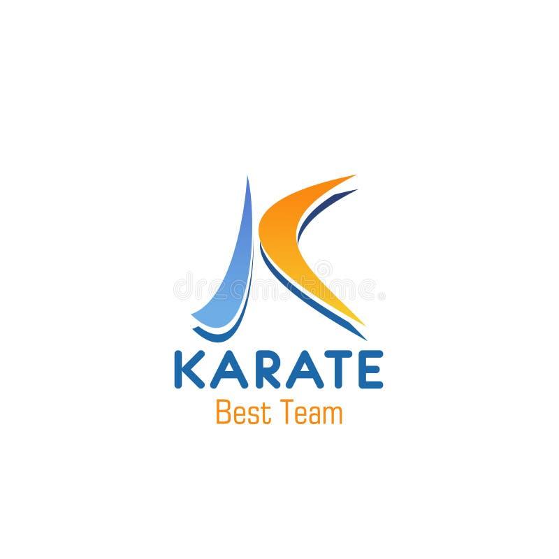 Icône de vecteur de lettre de K pour le club d'équipe de karaté illustration de vecteur