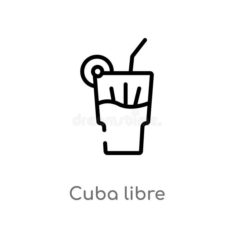 icône de vecteur de libre du Cuba d'ensemble ligne simple noire d'isolement illustration d'élément de concept de boissons course  illustration stock