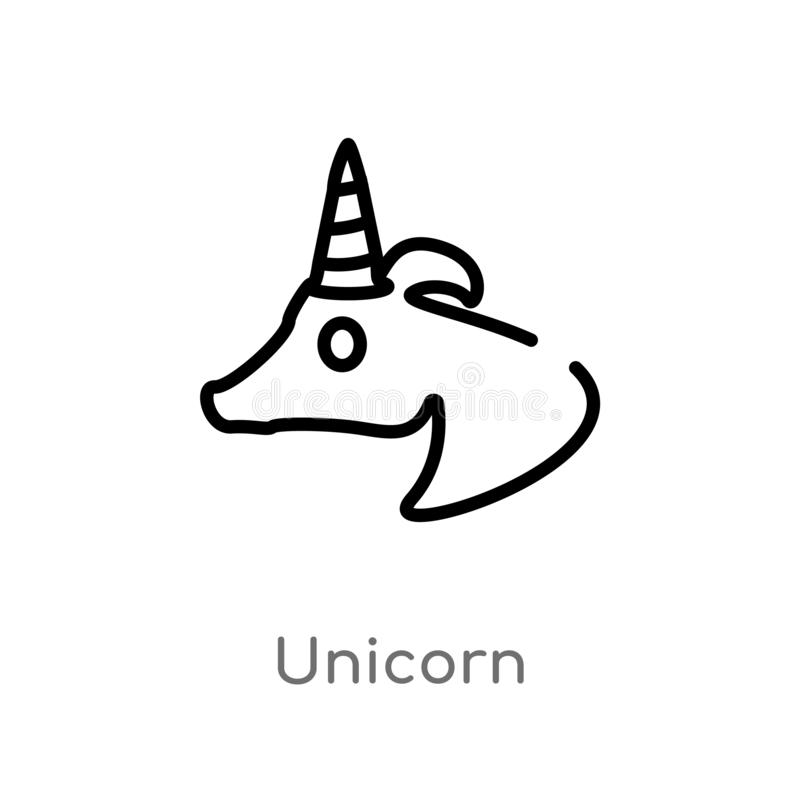 ic?ne de vecteur de licorne d'ensemble ligne simple noire d'isolement illustration d'?l?ment de concept de litt?rature Course Edi illustration stock