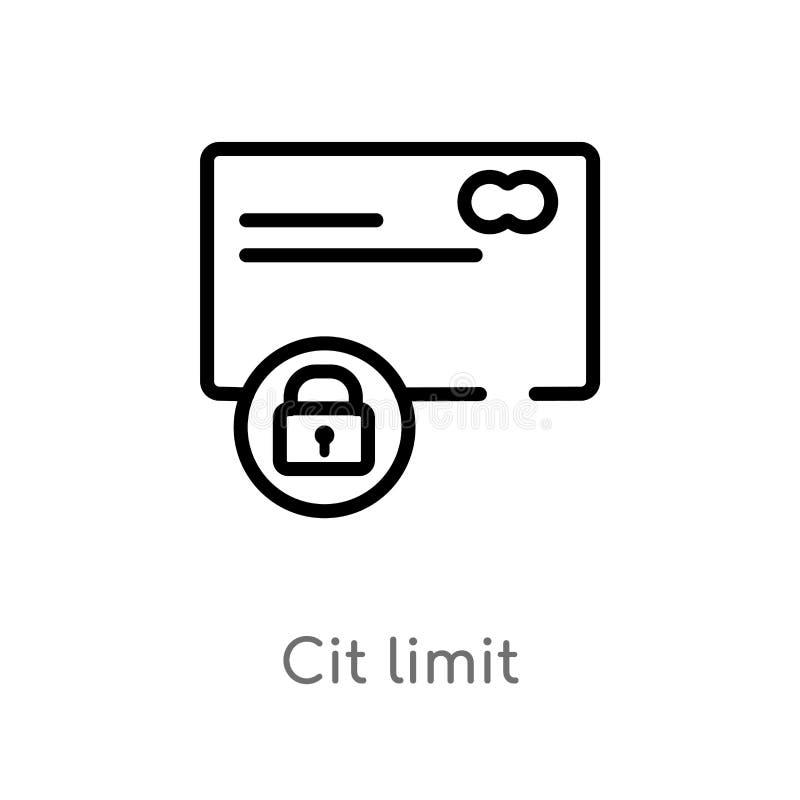 icône de vecteur de limite d'ensemble CIT ligne simple noire d'isolement illustration d'élément du concept general-1 course edita illustration stock