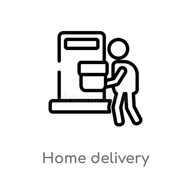 ic?ne de vecteur de livraison ? domicile d'ensemble ligne simple noire d'isolement illustration d'?l?ment de concept d'emballage  illustration de vecteur