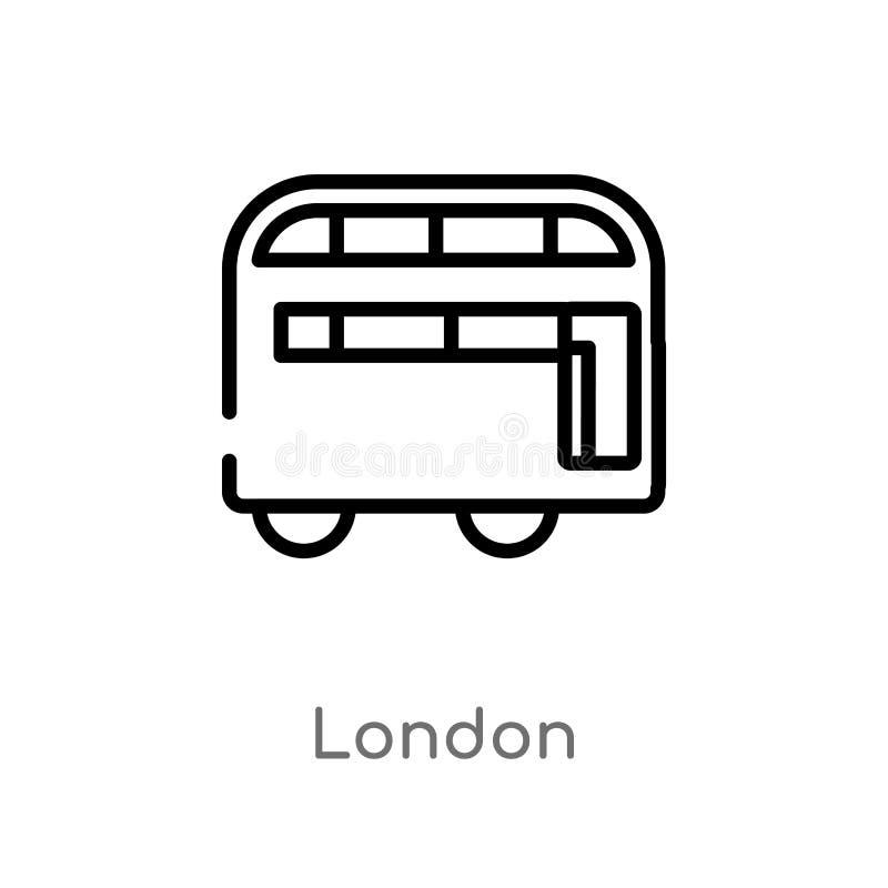 icône de vecteur de Londres d'ensemble ligne simple noire d'isolement illustration d'élément de concept de transport course edita illustration stock