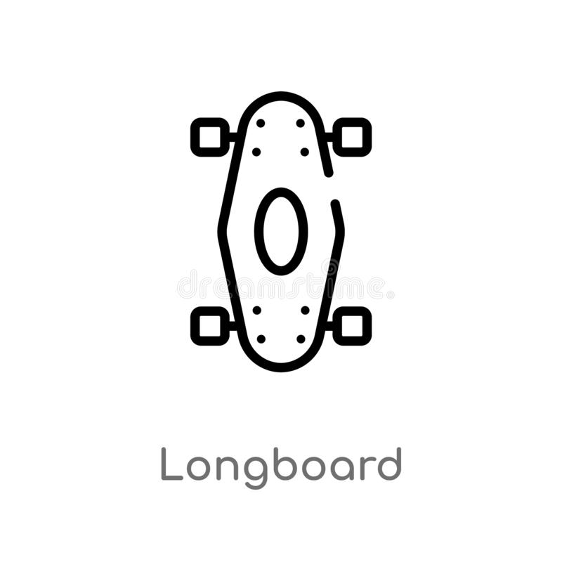 ic?ne de vecteur de longboard d'ensemble ligne simple noire d'isolement illustration d'?l?ment de concept de transport Course Edi illustration libre de droits