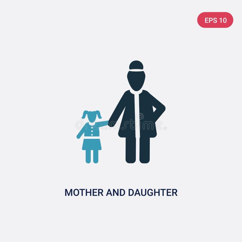 Icône de vecteur de mère et de fille de deux couleurs de concept de personnes le symbole bleu d'isolement de signe de vecteur de  illustration de vecteur