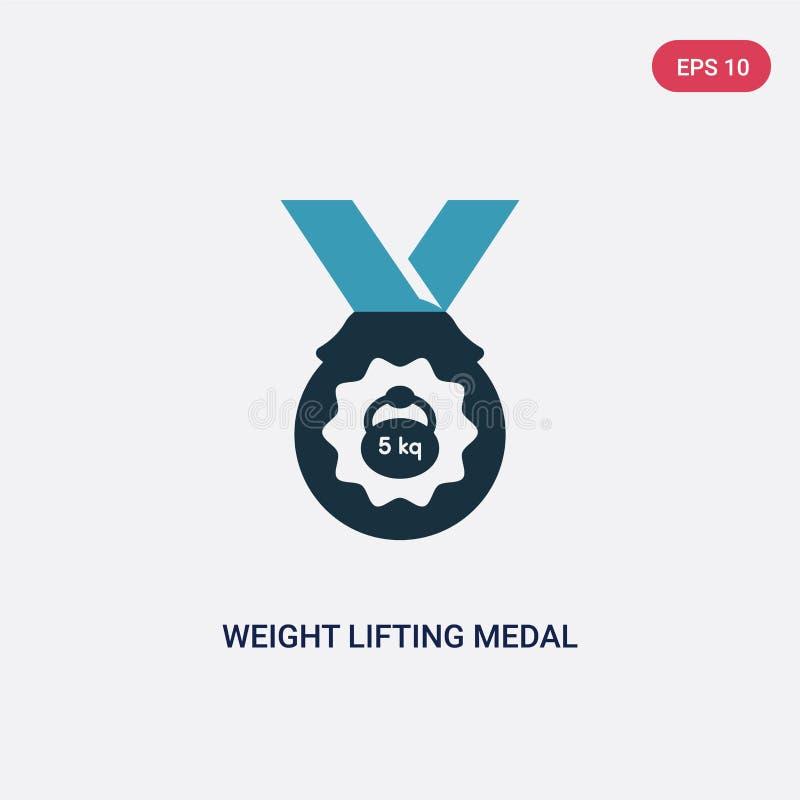 Icône de vecteur de médaille d'haltérophilie de deux couleurs de concept de sports le symbole bleu d'isolement de signe de vecteu illustration stock