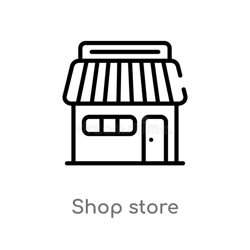 icône de vecteur de magasin de magasin d'ensemble ligne simple noire d'isolement illustration d'?l?ment de concept de commerce ma illustration stock