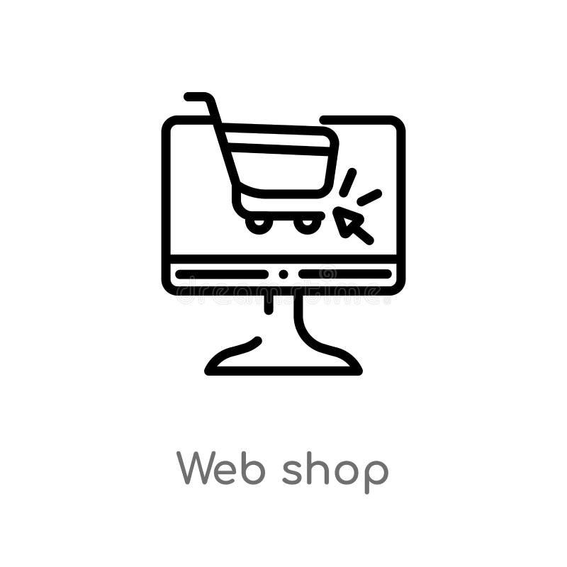 ic?ne de vecteur de magasin de Web d'ensemble ligne simple noire d'isolement illustration d'?l?ment de concept de commercialisati illustration de vecteur