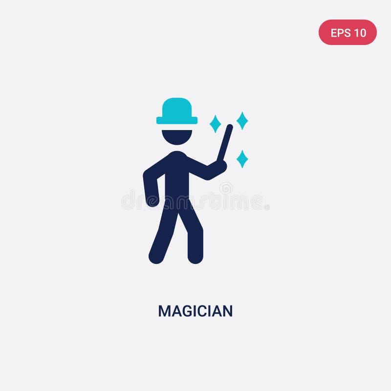 icône de vecteur de magicien de deux couleurs de concept d'activités en plein air le symbole bleu d'isolement de signe de vecteur illustration libre de droits