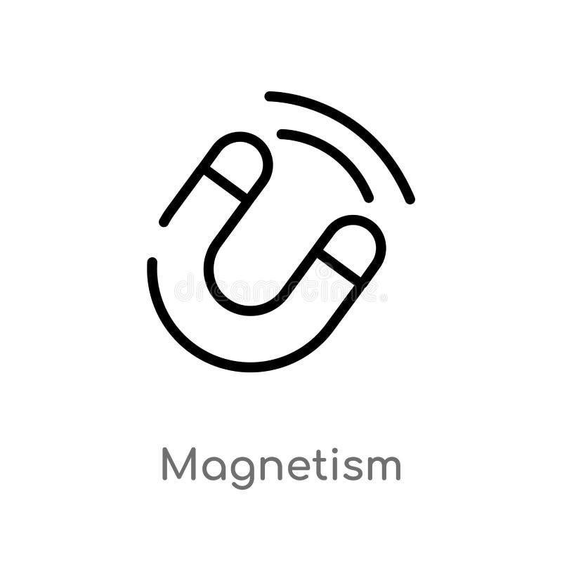 icône de vecteur de magnétisme d'ensemble ligne simple noire d'isolement illustration d'élément de concept de la science Course E illustration de vecteur
