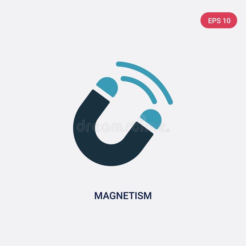 Icône de vecteur de magnétisme de deux couleurs de concept de la science le symbole bleu d'isolement de signe de vecteur de magné illustration libre de droits