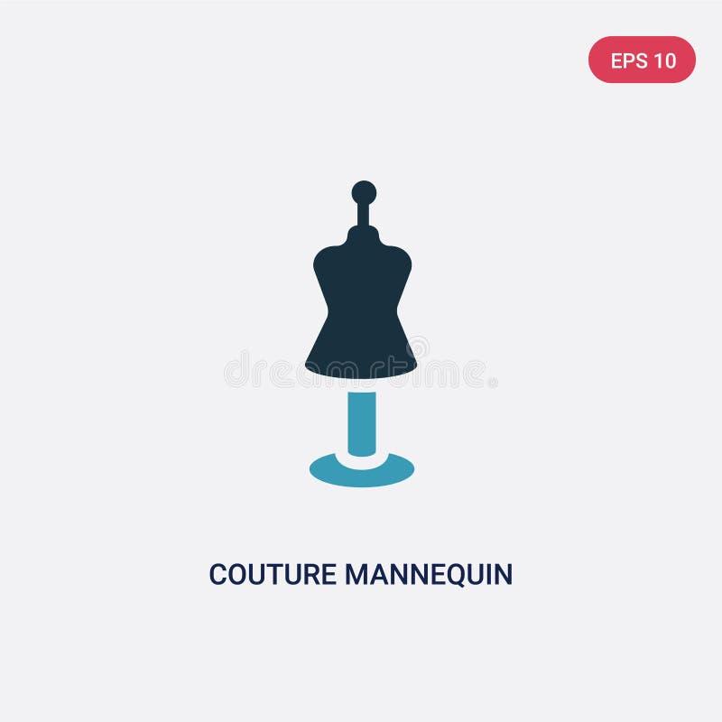 Icône de vecteur de mannequin de couture de deux couleurs de concept de formes le symbole bleu d'isolement de signe de vecteur de illustration stock