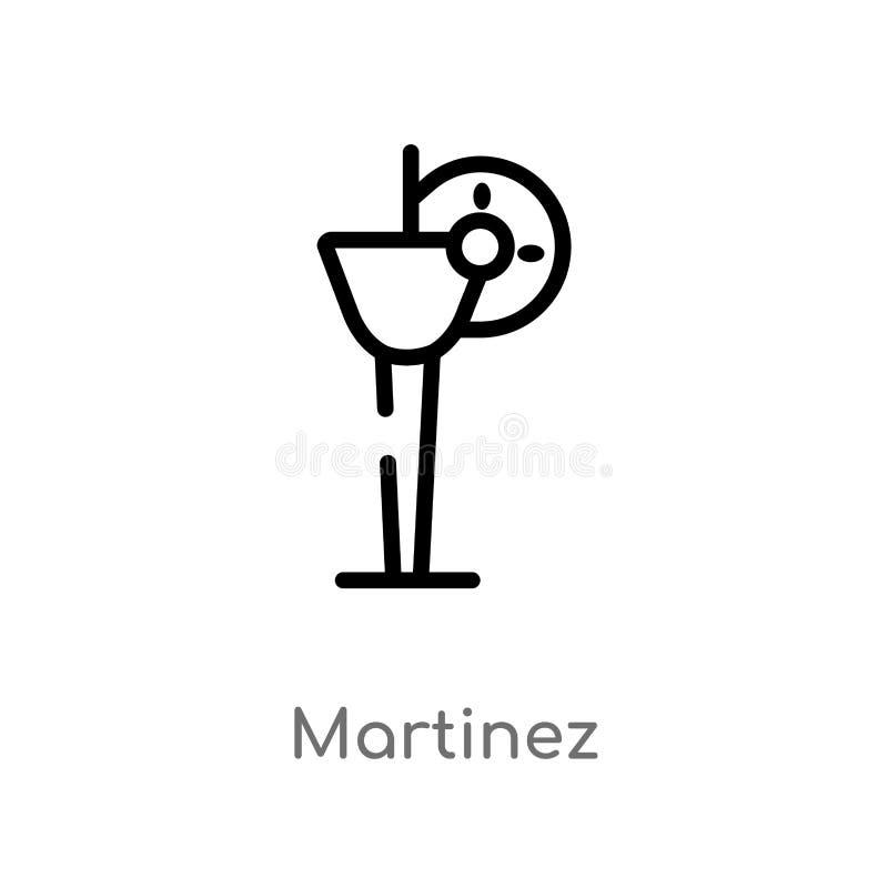 icône de vecteur de Martinez d'ensemble ligne simple noire d'isolement illustration d'élément de concept de boissons course edita illustration de vecteur