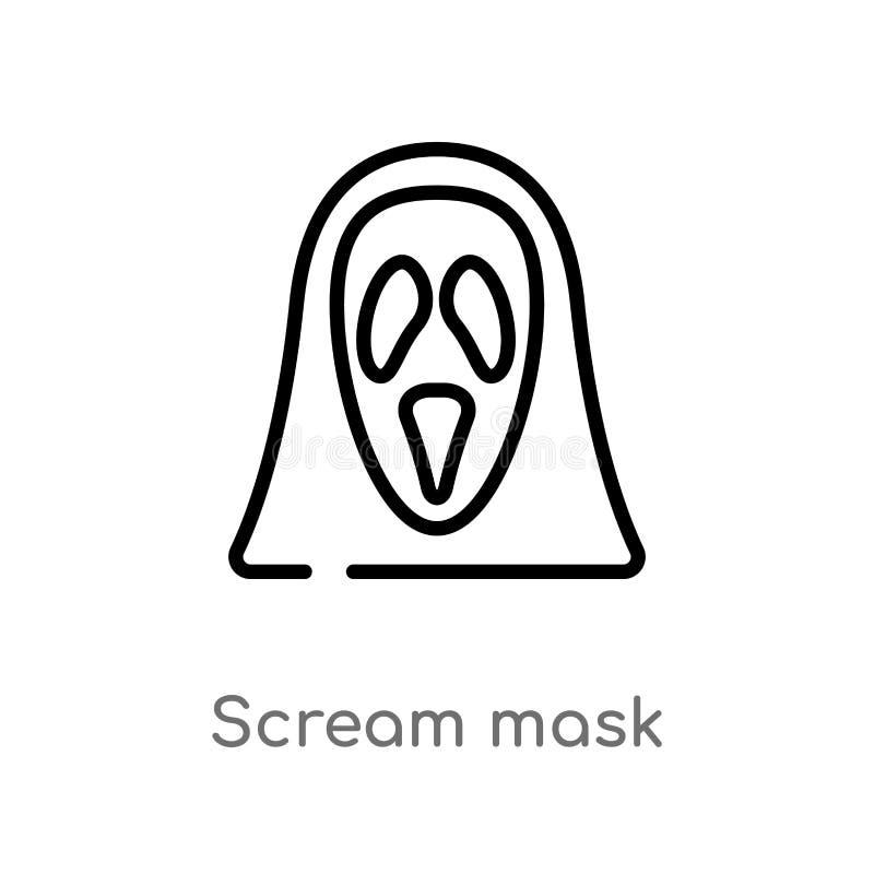 icône de vecteur de masque de cri perçant d'ensemble r cri perçant editable de course de vecteur illustration libre de droits