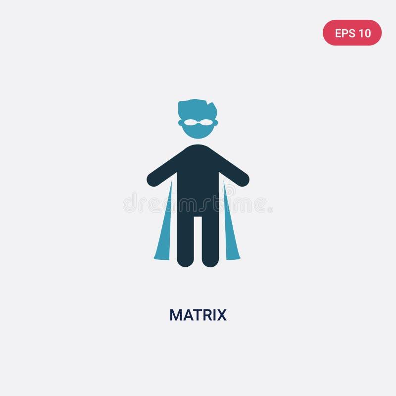 Icône de vecteur de matrice de deux couleurs de concept de personnes le symbole bleu d'isolement de signe de vecteur de matrice p illustration stock